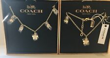 NWT Coach Floral Booming Charm Necklace & Floral Chain Bracelet Gold
