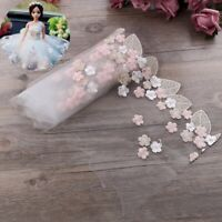 1Yard Floral Tulle Lace Trim Ribbon Fabric Flower Embroidery Wedding Trim Sewing