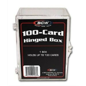(Pack of 3) BCW 100-Card Hinged Boxes Plastic Case Holder For Trading Cards