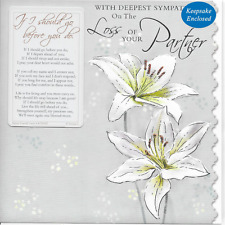DEEPEST SYMPATHY  LOSS OF YOUR PARTNER  CARD,WITH SENTIMENTAL KEEPSAKE CARD(S2