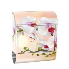 Edelstahlbriefkasten mit Zeitungsrolle & Motiv Orchidee Blume Pflanze   no. 0200