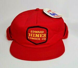 Vintage EDWARD HINES LUMBER CO. Trucker Hat Cap America's Legend Fur Red 6 7/8