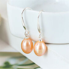 "925 Sterling Silver Genuine Freshwater 6-7mm Pearl 1"" Drop Dangle Earrings PE"