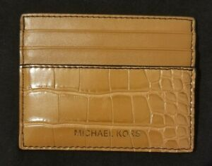 Michael Kors Men's Cooper Tall Card Case in luggage - genuine leather - nwt