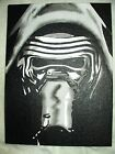 Canvas Painting Star Wars Kylo Ren Mask Front B&W 16x12 inch Acrylic