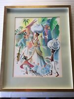 """Original Watercolor by Andree, Signed, Framed, 14 1/2"""" x 19"""" (Image)"""