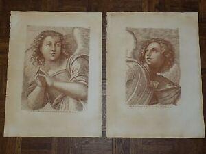 Large Antique 18th C. Sepia Etchings After Raphael - Archangels - A Pair