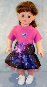 "18"" Doll Clothes Galaxy on Black Skirt w/ Ruffles & Pink T Shirt by Jane Ellen"