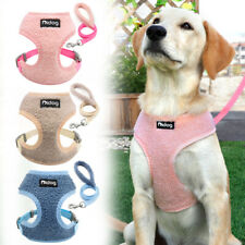 French Bulldog Dog Harness and Leash Set Soft Padded Vest Adjustable Pink Blue