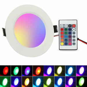 5W LED Recessed 16 Colour Ceiling Light Panel Spotlight RED GREEN or BLUE