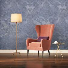 Vinyl Wallpaper blue Metallic Textured Victorian Damask embossed wall coverings