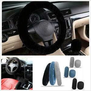 3Pcs Black Soft Wool Handbrake Gear Shift Cover Car Steering Wheel Cover Decor