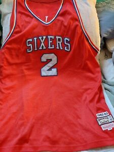 Auth Vtg Mitchell & Ness NBA Philadelphia 76ers Sixers #2 Moses Malone Jersey 58
