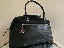 Chanel Handbag Tote Travel Bag Black Leather Quilted