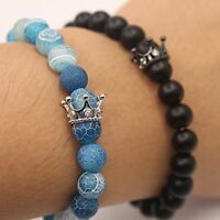2018 Couple His & Hers Distance Healing Bracelet + Crown Agate Bead Matching Fun