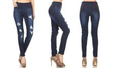 Jivini Women's Pull-On Skinny Ripped Distressed Denim Jeggings Large X-Large