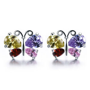 Butterfly Style Natural Multi Amethyst Peridot Topaz Garnet Silver Stud Earrings