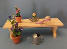 Dollhouse mini 1:12 T4228 garden bench, flowers in pots, sun hat sprinkling can