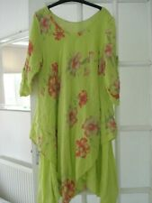 Quirky Lagenlook Lime Green Floral Top