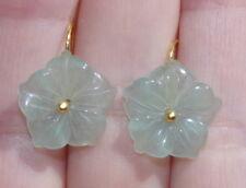 HAND MADE JADEITE JADE CARVED FLOWER EARRINGS