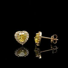 1Ct Heart Citrine Yellow & Created Diamond Halo Earrings 14K Yellow Gold Studs