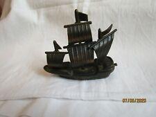 Vintage novelty desk top metal pencil sharpener depicting boat, ship