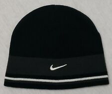 Vintage Nike Swoosh Logo Striped Beanie Knit Cap Winter Hat Black Gray Size 8-20