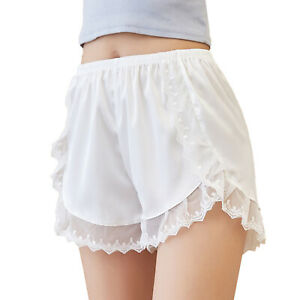 Women Satin Lace Shorts Silky Pajama Bottoms Briefs Panties Knickers Casual Wear
