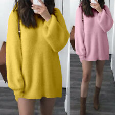 UK Women Pullover Sweater Knit Wear Ladies Jumper Mini Dress Shirt Top Size 8-26