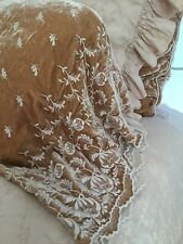 Bella Notte Linens Silk Velvet Embroidered Pillowcases in Perfect Peach