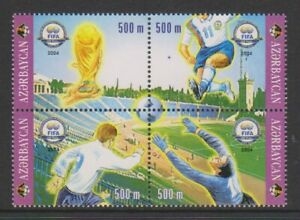 Azerbaijan - 2004, Centenary of Fifa, Football Block of 4 - MNH - SG 579/82