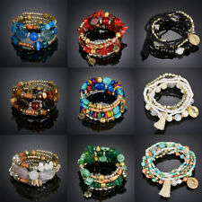 Turquoise Boho Natural Stone Multilayer Beaded Bracelet Bohemian Bangle Gift New