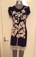 STELLA, SIZE 10, BLACK & CREAM SHORT SLEEVE SHORT/MINI DRESS, PRE-LOVED