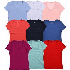 Tommy Hilfiger Womens T-shirt V-neck Tee Short Sleeve Flag Logo Solid New Nwt