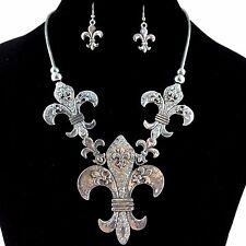 Premium Vintage Western Silver Fleur De Lis Rhinestone Necklace Earring