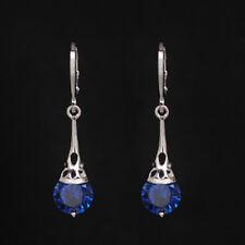Earring Hollow Hoop Long Cubic Zircon Drop Jewelry for Women Dangle Earrings Blue