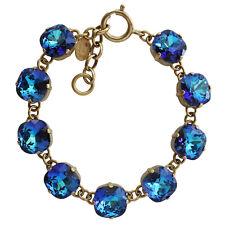 CATHERINE POPESCO La Vie Parisienne Gold France BERMUDA BLUE Crystal Bracelet