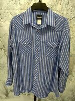 Wrangler Men's Size 18 Blue Striped Long Sleeve Pearl Snap Western Shirt Cowboy