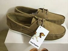 Hush Puppies Henry Boat Deck Chestnut Brown Leather Moccasin Shoes Size UK 11