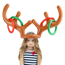 Christmas Party Holiday Game Inflatable Reindeer Antler Hat Toss Ring Decor Toy