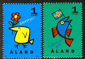 Aland 1996 Greetings set, Bird & Fish Cartoons, UNM / MNH
