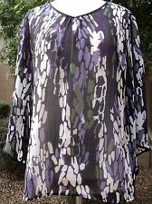 NWOT Tribal Size M Purple Multi Long Sleeve  Pullover Dressy Career Blouse Top