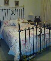 6 piece King Bed Quilt Set Shabby Vintage Blue Country Cottage Patchwork Chic Nw