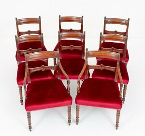 Set Regency Dining Chairs Mahogany Antique