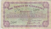 P42b GUERNSEY 1958 TEN SHILLINGS BANKNOTE IN A USED CONDITION.