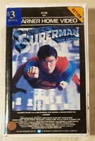 Superman VHS 1978 Superhero Film Richard Donner 1981 Warner Home Video Ex-Rental