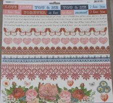 """Kaisercraft 'KEY TO MY HEART' 12x12"""" Sticker Sheet Love/Romance/Wedding KAISER"""