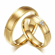 18K Yellow Gold Filled CZ Band Men Women Wedding Engagement Couple Rings Sz 5-12