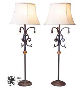 """2 Unique Contemporary Arhaus Wrought Iron Table Lamps Designer 38"""" Rustic Pair"""
