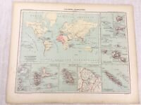 1898 French Map of The Colonies Colonial Guadeloupe 19th Century Antique